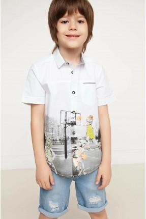 قميص اطفال ولادي بطبعة ملعب كرة سلة