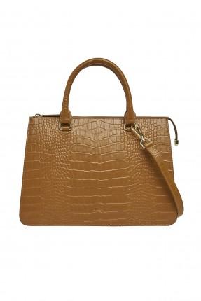 حقيبة يد نسائية جلد بنقشة