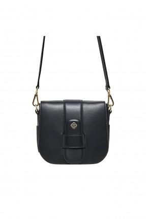 حقيبة يد نسائية جلد مزينة بسلسة معدنية