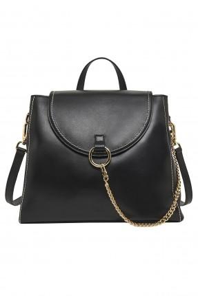 حقيبة يد نسائية جلد مزينة بسلسلة معدنية