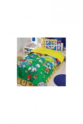 طقم لحاف سرير اطفال مزين برسمة السنافر