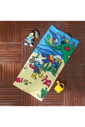 منشفة اطفال للشاطئ برسمة السنافر