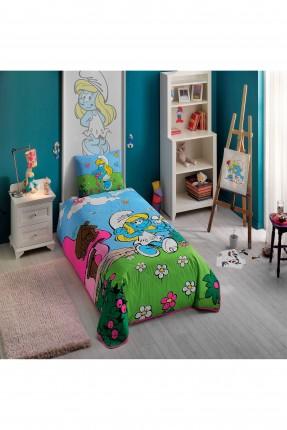 طقم غطاء سرير اطفال مزين برسمة السنافر