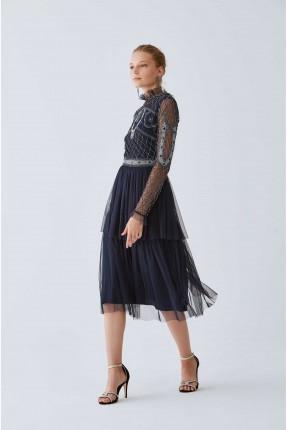 فستان رسمي قصير كشكش