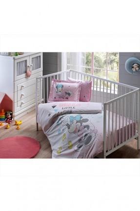 طقم غطاء سرير بيبي بناتي بطبعة ميني ماوس