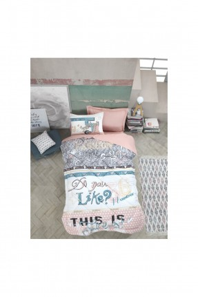 طقم غطاء سرير فردي بكتابات