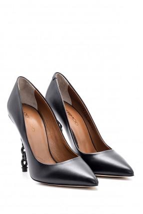 حذاء نسائي جلد بكعب سلسلة