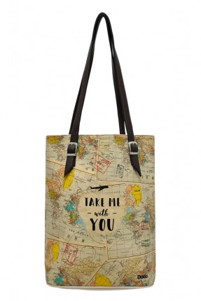 حقيبة يد نسائية بطبعة خرائط