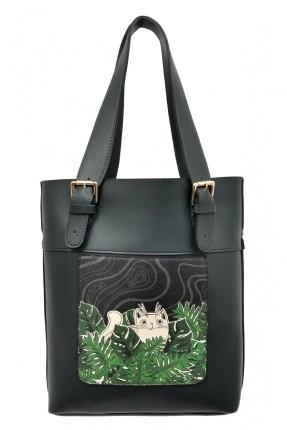 حقيبة يد نسائية بطبعة قطة