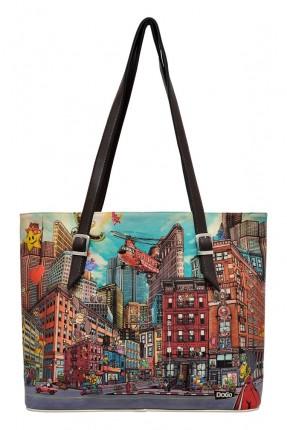 حقيبة يد نسائية بطبعة مدينة