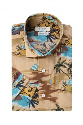 قميص رجالي بطبعة ملونة