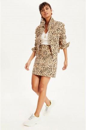 تنورة قصيرة سليم فيت بلون جلد الفهد