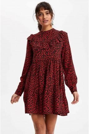 فستان سبور ملون بزم عند الخصر