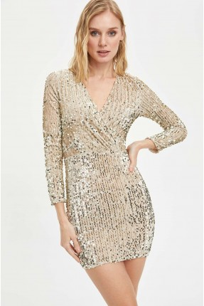 فستان رسمي مزين بستراس