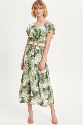 فستان سبور نصف كم بطبعة ازهار