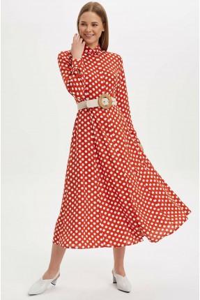فستان سبور منقط بكم طويل