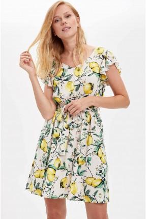 فستان سبور حفر بطبعة ليمون