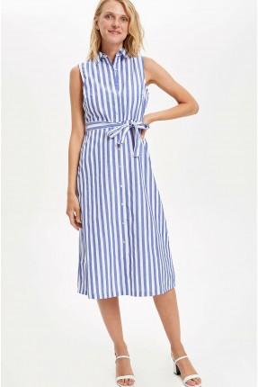 فستان سبور مخطط بياقة قميص