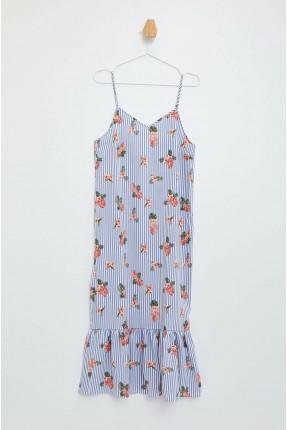 فستان سبور مخطط بطبعة ازهار