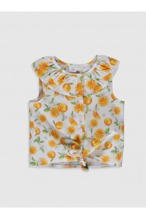 قميص بيبي بناتي بنقشة برتقال