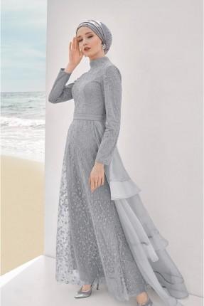 فستان رسمي شيك بياقة عالية