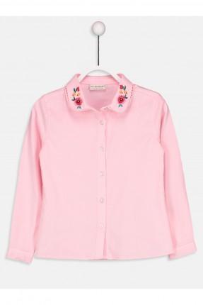 قميص اطفال بناتي بتطريز ورود ملونة