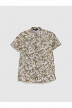 قميص اطفال ولادي بنقشة اوارق شجر