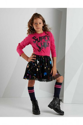 فستان اطفال بناتي مزين بالتول
