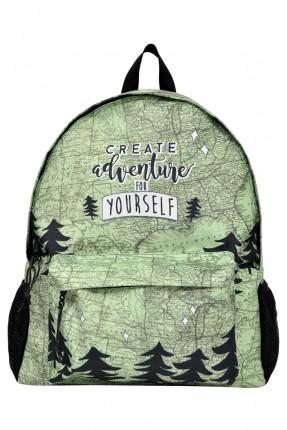 حقيبة ظهر اطفال ولادي بطبعة خريطة واشجار ليلية