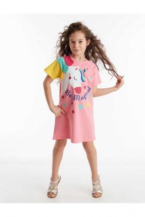 فستان اطفال بناتي بطبعة خيل ملون
