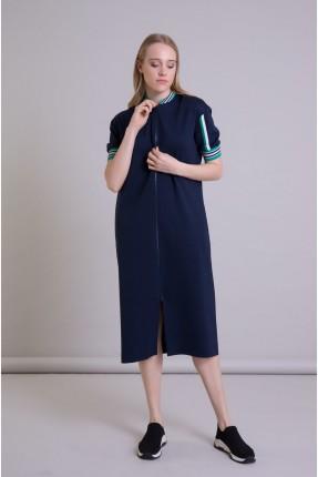 فستان سبور نصف كم بخطوط ملونة