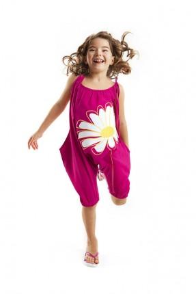 افرول اطفال بناتي بطبعة وردة