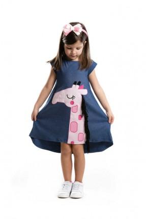 فستان اطفال بناتي بطبعة زرافة وشراشيب