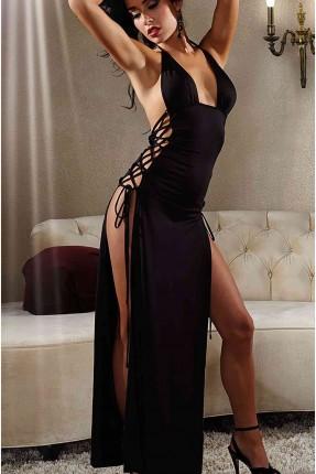فستان لانجري طويل مزين بشبك