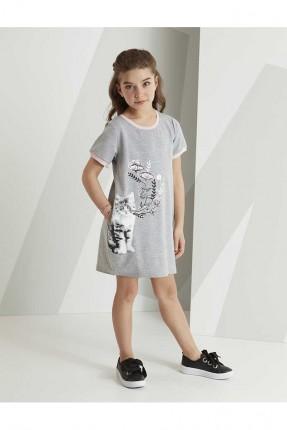 فستان اطفال بناتي نصف كم بطبعة قطة