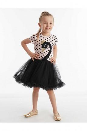 فستان اطفال بناتي منقط ومزبن بالتول