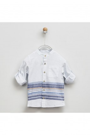قميص اطفال ولادي بخطوط ملونة وجيب