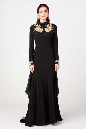 فستان رسمي بوشاح معلق بالاكمام
