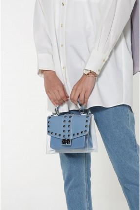حقيبة يد نسائية مزينة بقطع معدنية