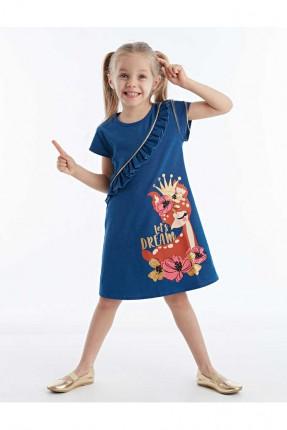فستان اطفال بناتي بطبعة ملونة وكشكش