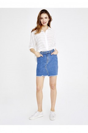 تنورة قصيرة جينز بجيوب