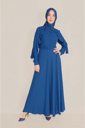 فستان سبور بياقة مزينة بالخرز