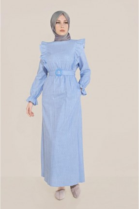 فستان سبور مزين بزم على الاكمام