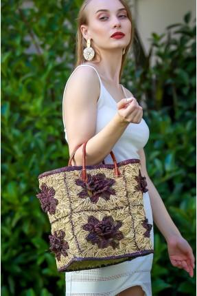 حقيبة يد نسائية قش مزينة بورود