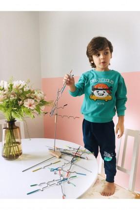 بنطال رياضة اطفال ولادي بطبعات ملونة