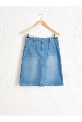تنورة قصيرة جينز بكحتة