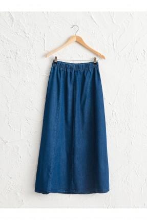تنورة طويلة جينز بخصر مطاط