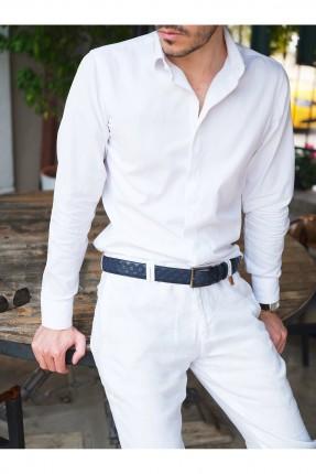حزام رجالي جلد بنقشة مربعات