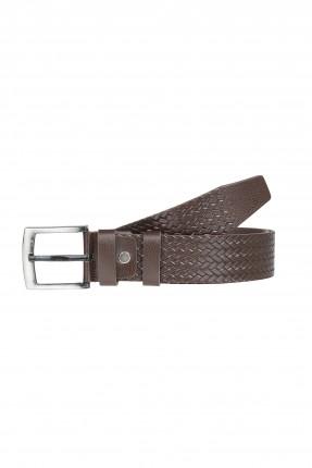 حزام رجالي جلد بنقشة جدلة