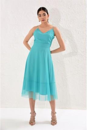 فستان سبور مزين بالتول